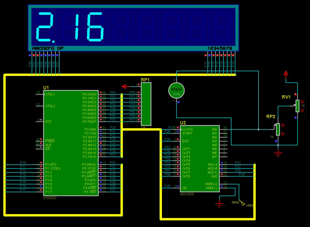 Proteus Simulation Digital DC Voltmeter Using Microcontroller 8051Atmel 89x52 Beprojectidea