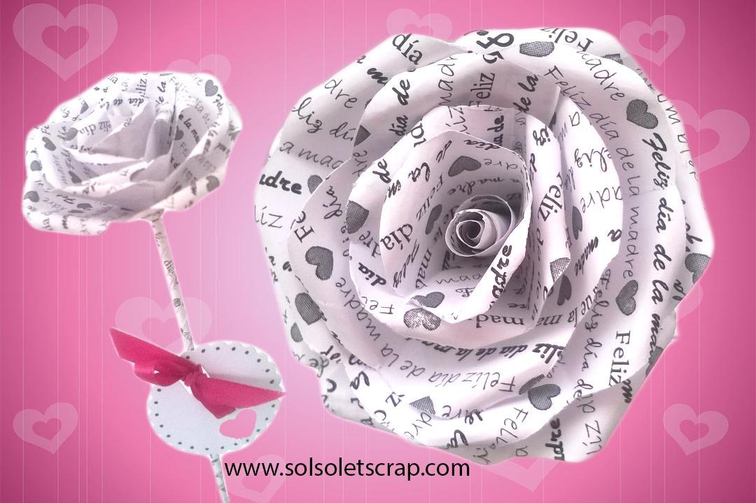 flor rosa de papel texto te quiero impreso en pétalos regalo día de la madre