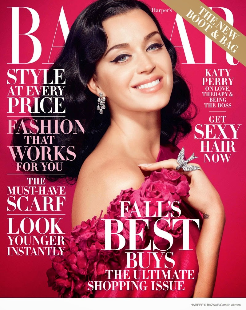 Katy Perry wears couture for the Harper's Bazaar US October 2014 cover shoot