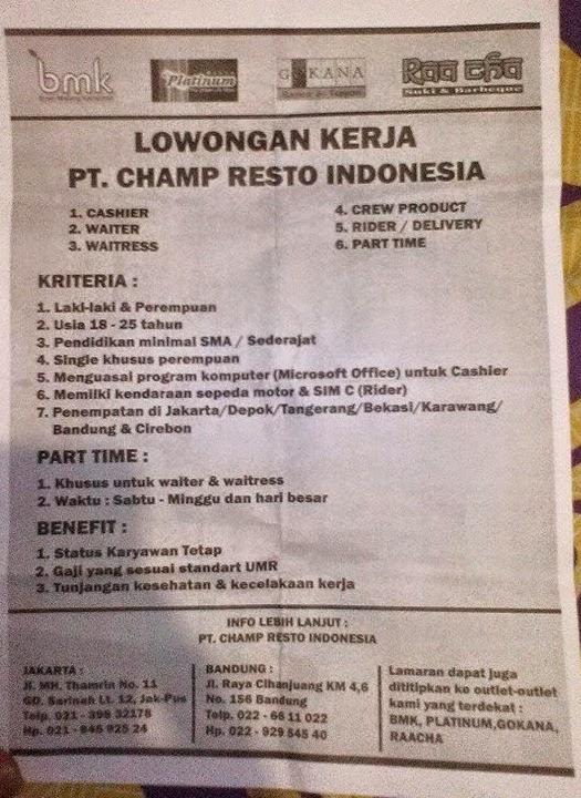 Lowongan Kerja PT. Cham Resto Indonesia Jakarta Bandung (CHAMP GROUP)