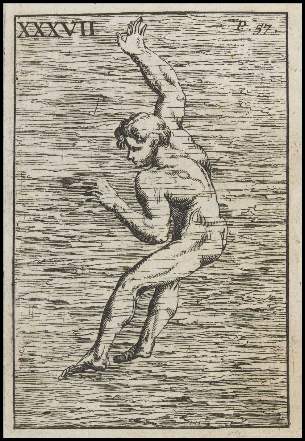 nude swimmer returning to water's surface - sketch