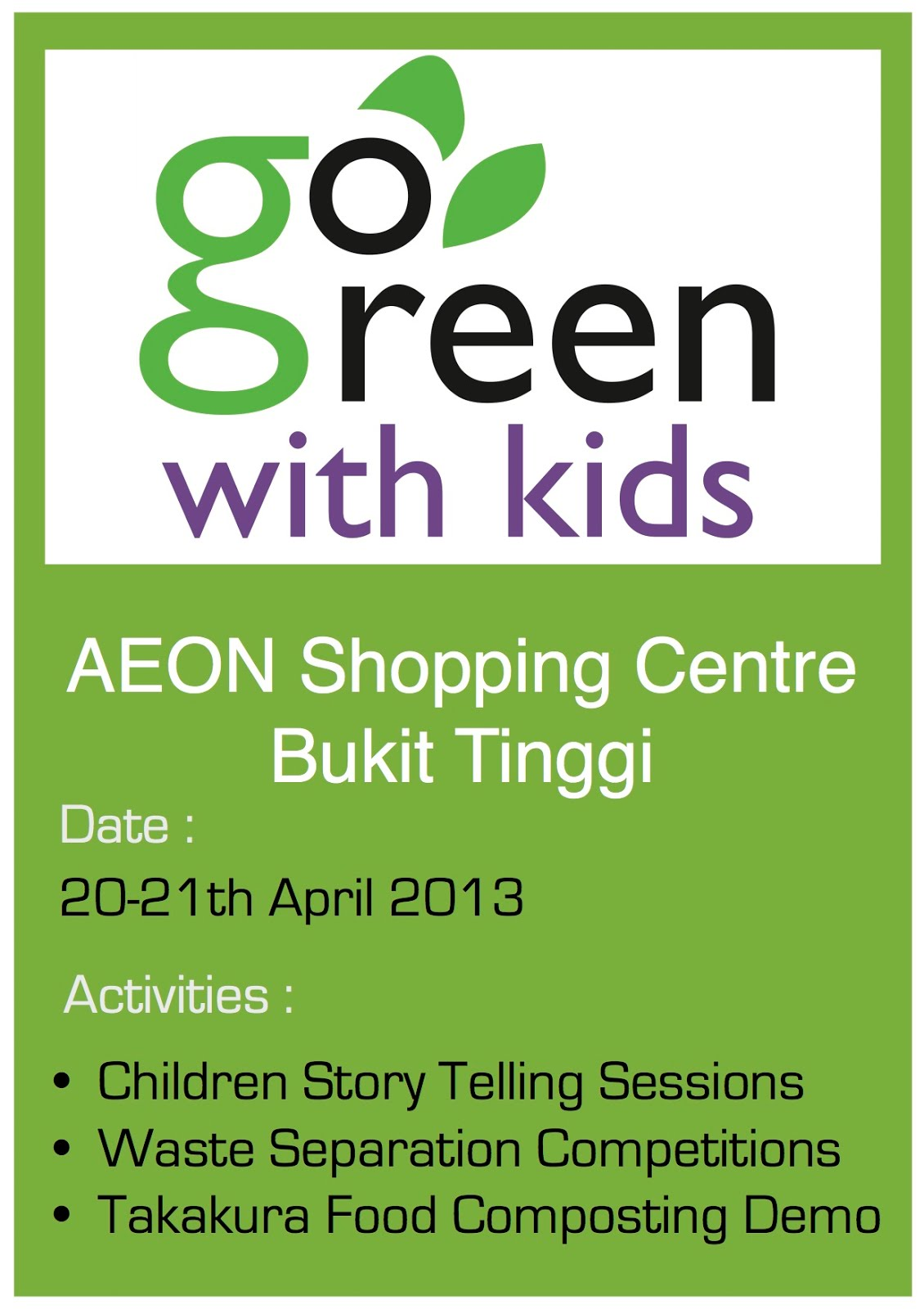 Go Green With Kids   绿化家庭日 AEON Bukit Tinggi