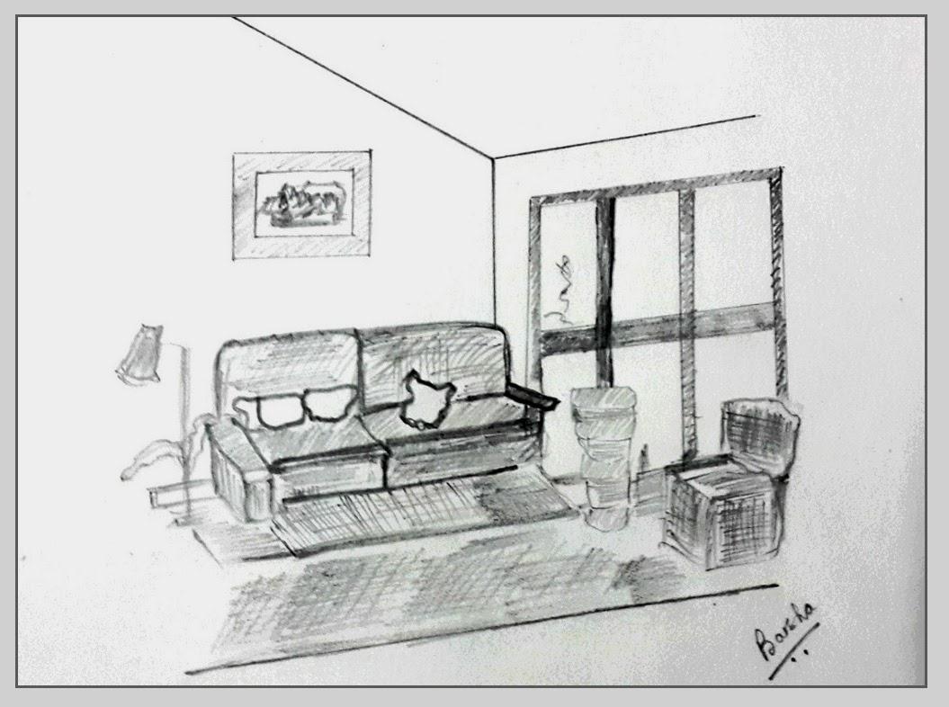 Barsha 39 S Painting Ink Pencil Sketch Exterior Interior