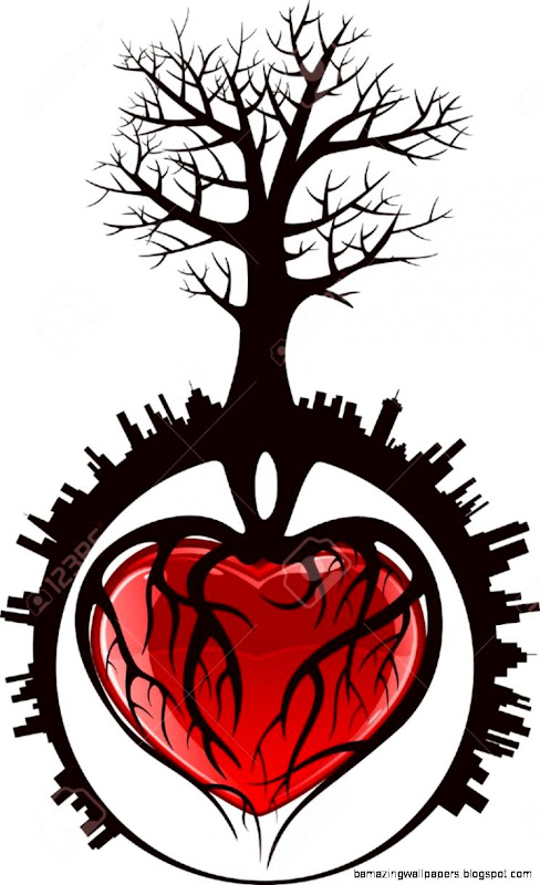 Tree With Roots In The Form Of Heart In A City Illustration