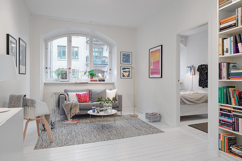 Una pizca de hogar soluciones para pisos peque os for Paredes tapizadas