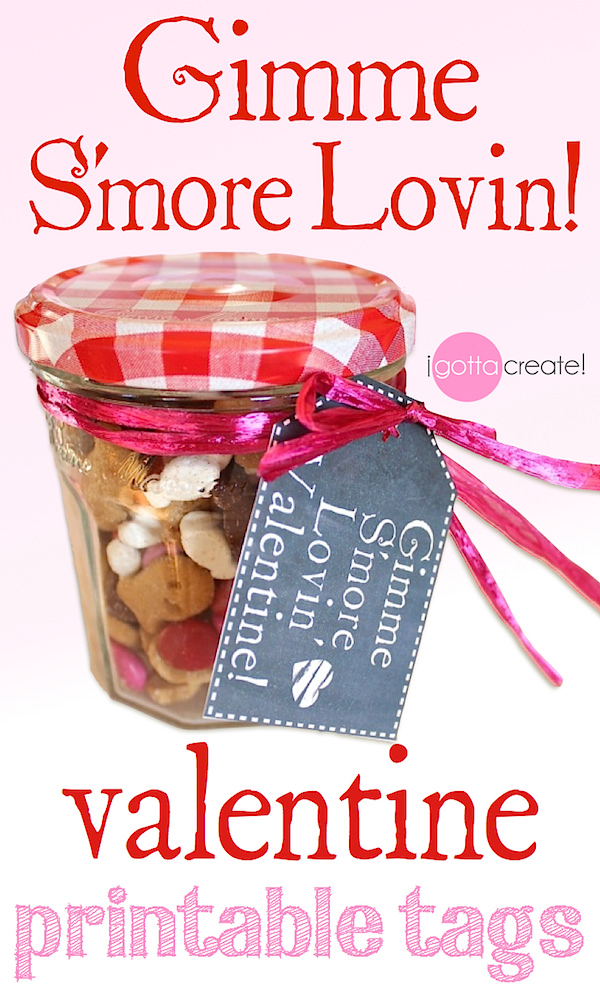 Chalkboard gift tags for Valentines. Cute stitching! Great for the classroom, office or teachers. | Gimme S'more Lovin' Valentine! free printable at I Gotta Create!