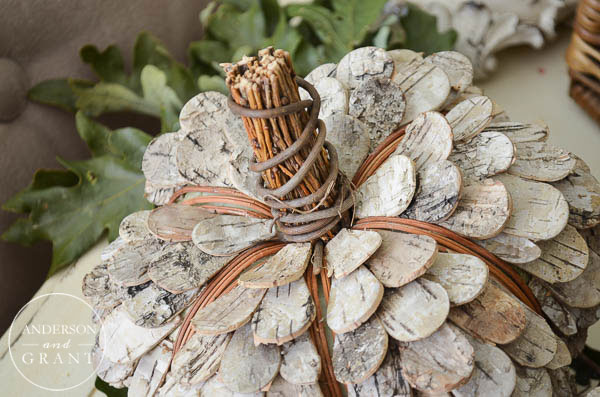 These birch bark pumpkins made by Smith & Hawken are the most unique decoration I've seen this fall.     www.andersonandgrant.com
