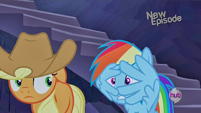 Applejack and Rainbow Dash looking scared