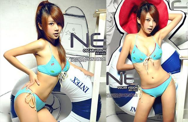 Xia Xiao Wei in blue lingerie