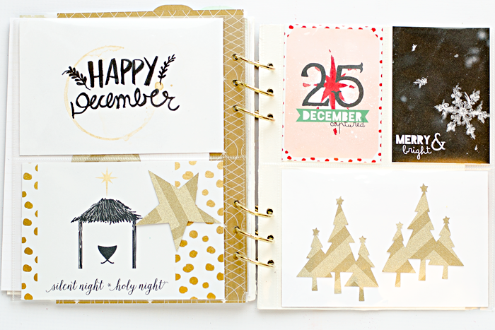 hybrid December scrapbook album using Memory Pockets Monthly and Black Friday release products from The Lilypad