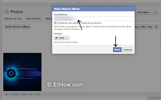 Privacy for shared albums. adding contributors to shared facebook albums.
