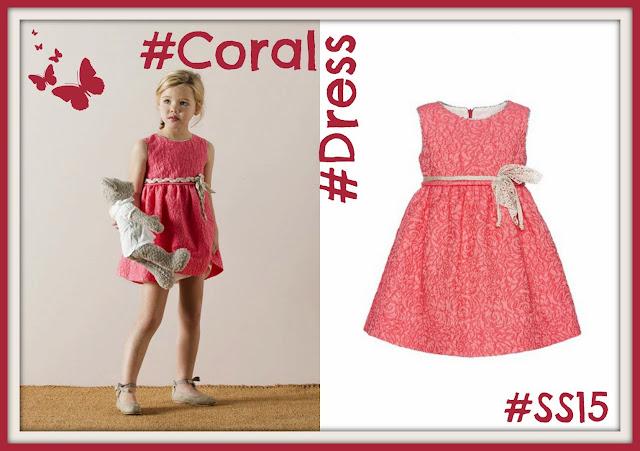 vestido color coral brocado - Nanos moda infantil
