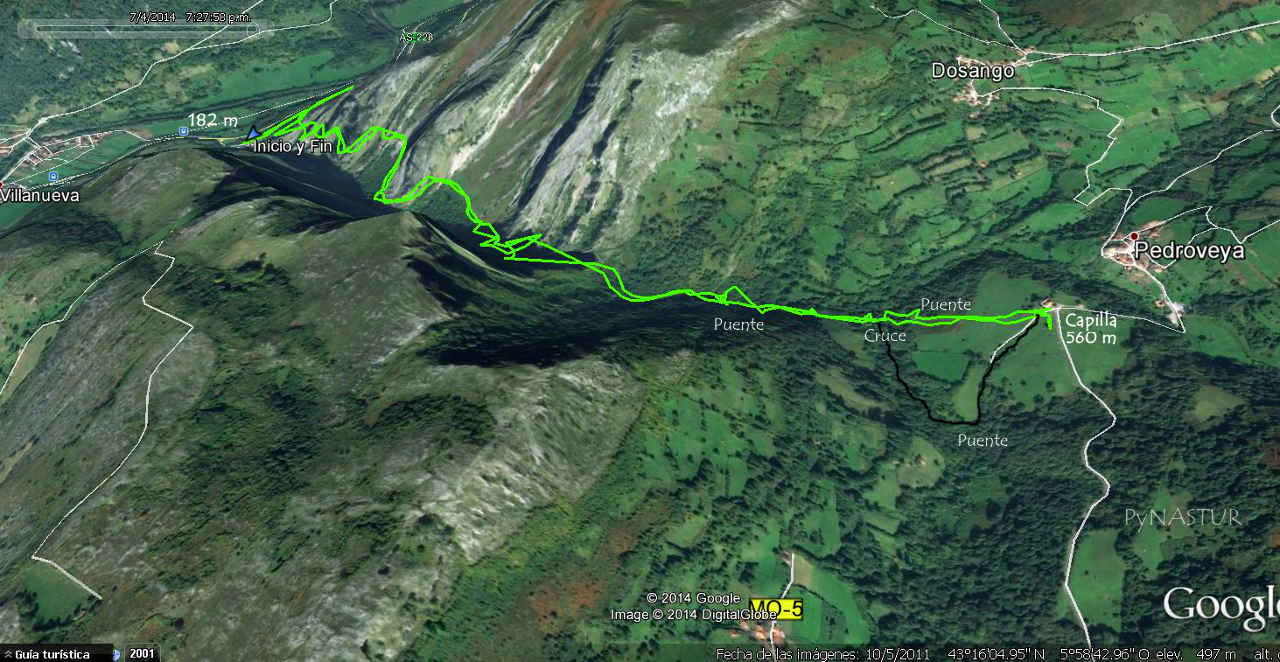 Mapa del desfiladero de Las Xanas Asturias