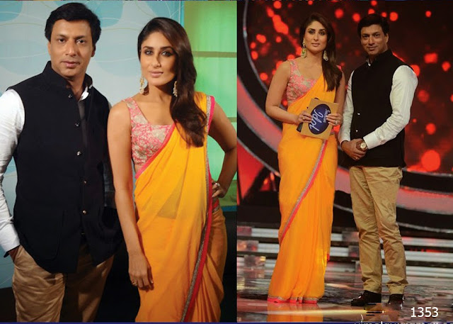 1353-Kareena Kapoor in Manish Malhotra Plain Yellow saree-New