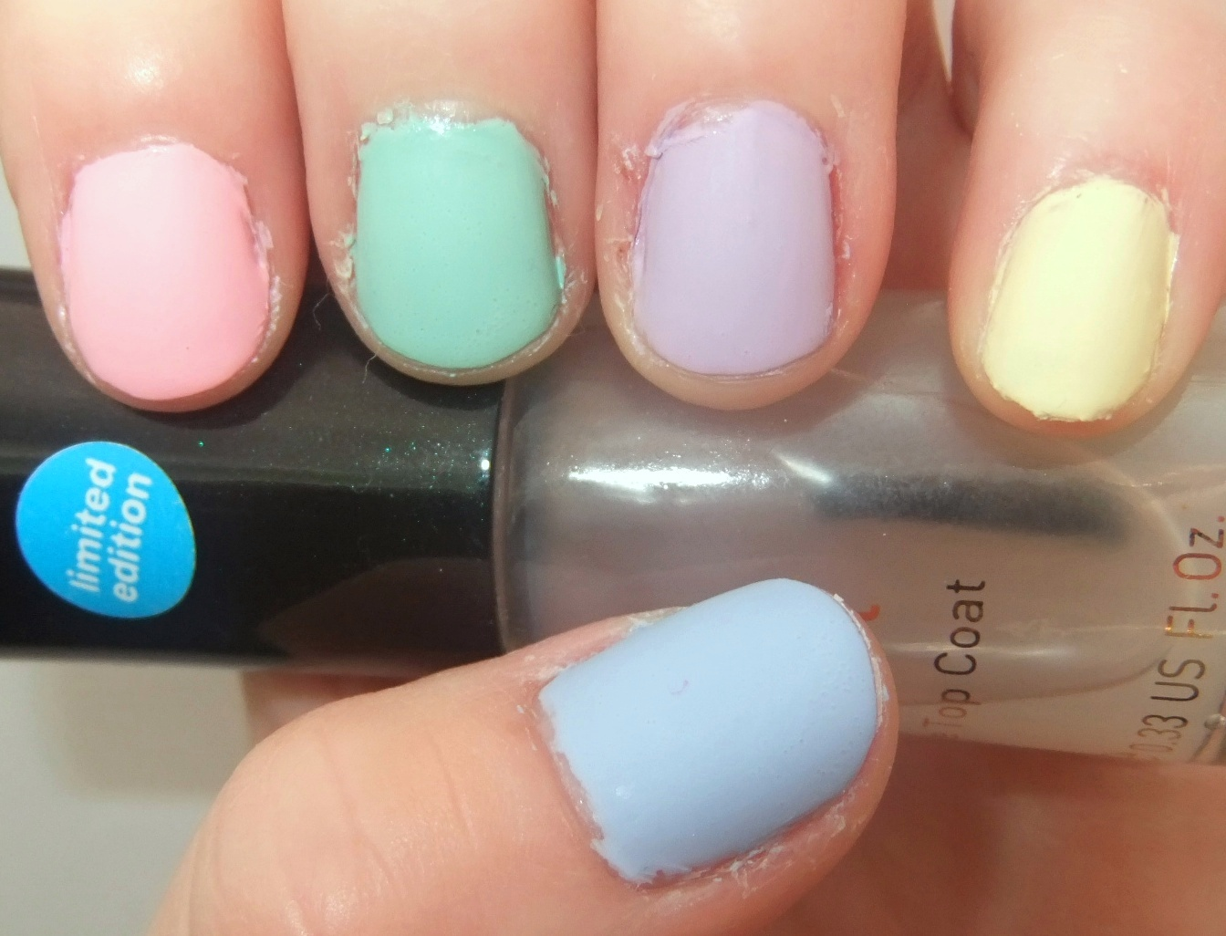I Used 5 Lovely Pastel Shades Which All Hen To Be Models Own And No7 Then Topped Each Nail With A Matte Top Coat Also Love The Effect