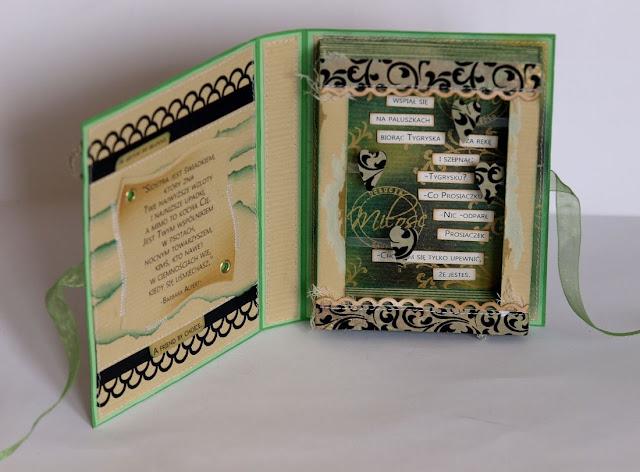 kartka książka_prezent dla siostry_ urodzinowa kartka_Spellbinders Nestabilities Wonky Squares_cytat Kubuś Puchatek_Siostra jest światkiem, który zna Twoje najwyższe wzloty