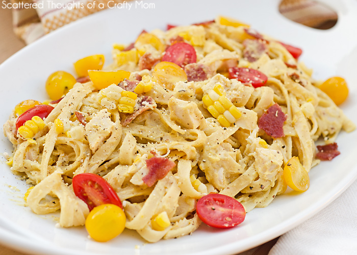 ... recipe for fettuccine with fresh corn pesto to share with you today