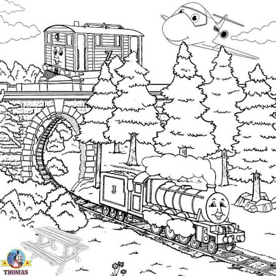 Boys train pictures of Thomas colouring pages to print for children Henry the green engine Toby tram