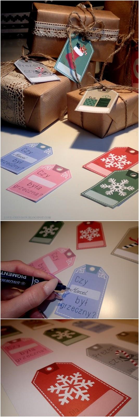 etykiety na prezenty pod choinke