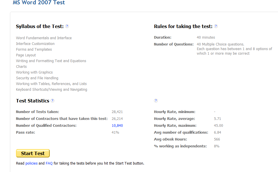 ms word test for employment odesk ms word 2007 test fo r all biddersespecially