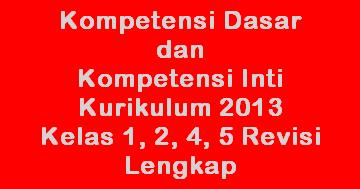 Download Kompetensi Dasar Kd Dan Inti Ki Kurikulum 2013 Kelas 1 2 4 5 Sd Lengkap Versi
