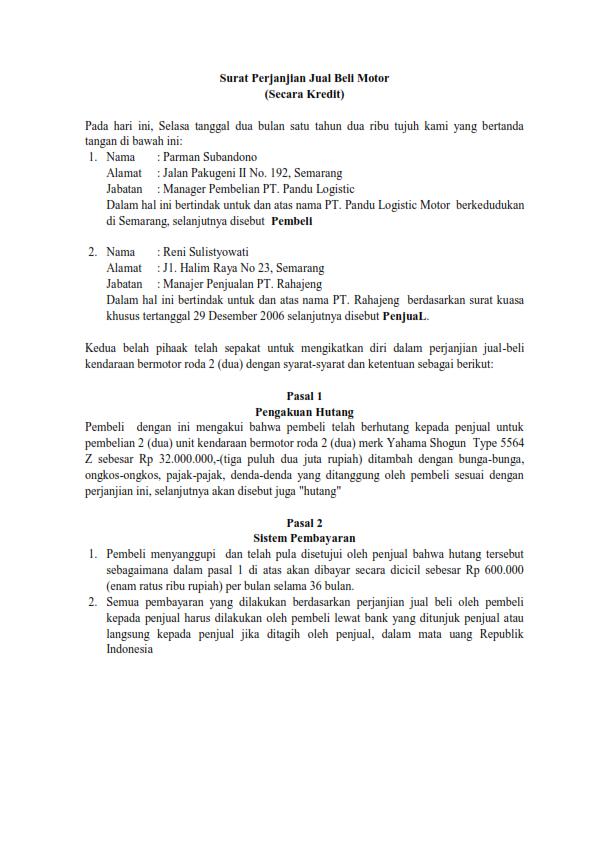 Contoh Surat Perjanjian Jual Beli Motor Secara Kredit