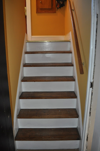 hallway, painting trim, painting, priming, freshening up, painting stairs, stair treads, diy