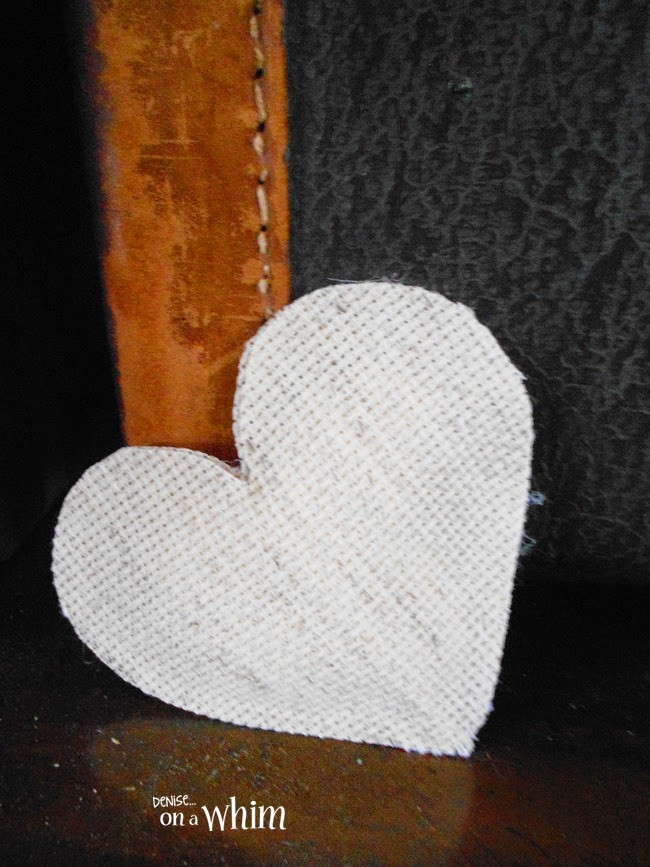 Heart made from Cross Stitch Fabric from Denise on a Whim