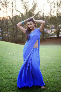 Neelam Upadhyay hot looking hot pics in blue wet saree