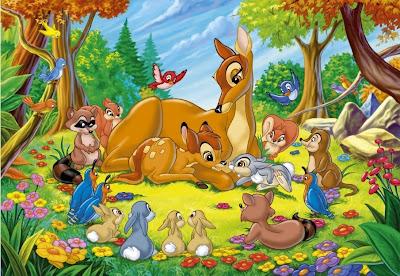 Little Bambi Deer Mother and Friends