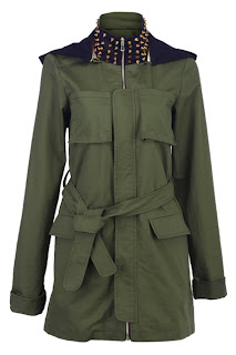 Romwe Rivets Collar Army Green Jacket