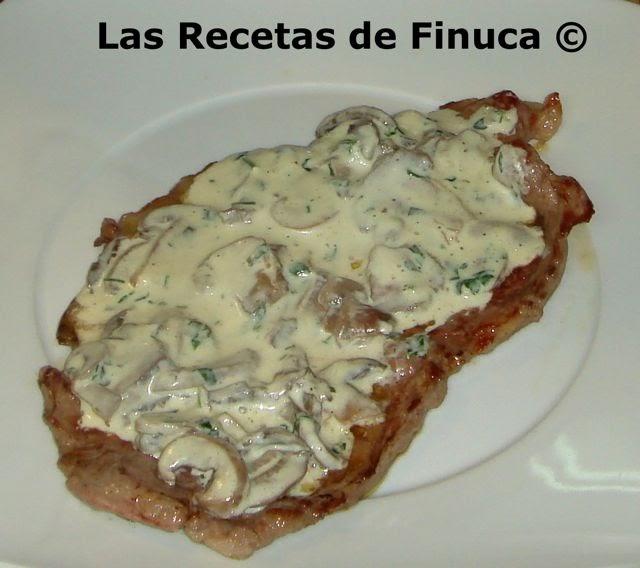 Las recetas de finuca filete a la plancha con salsa de for Cocinar filetes de ternera
