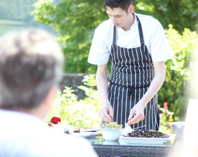 Rob preparing scallops