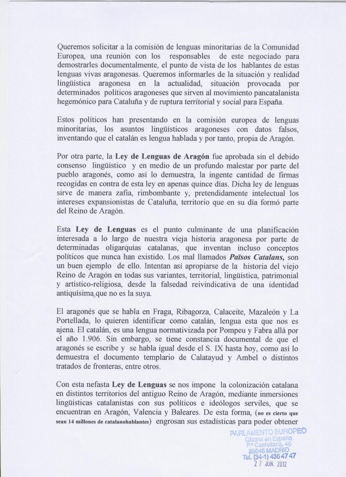 Colectivo identitario de arag n nos remiten carta for Oficinas de registro de la comunidad de madrid