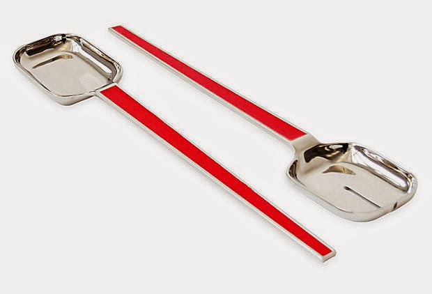 Red enamel serving set