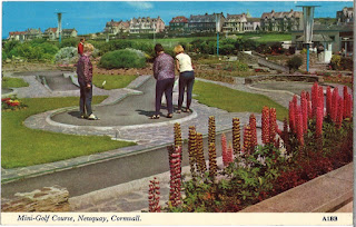 Postcard of the Mini Golf course in Newquay, Cornwall (A1E). Harvey Barton Viewcard. Postally unused but dated 16.09.70