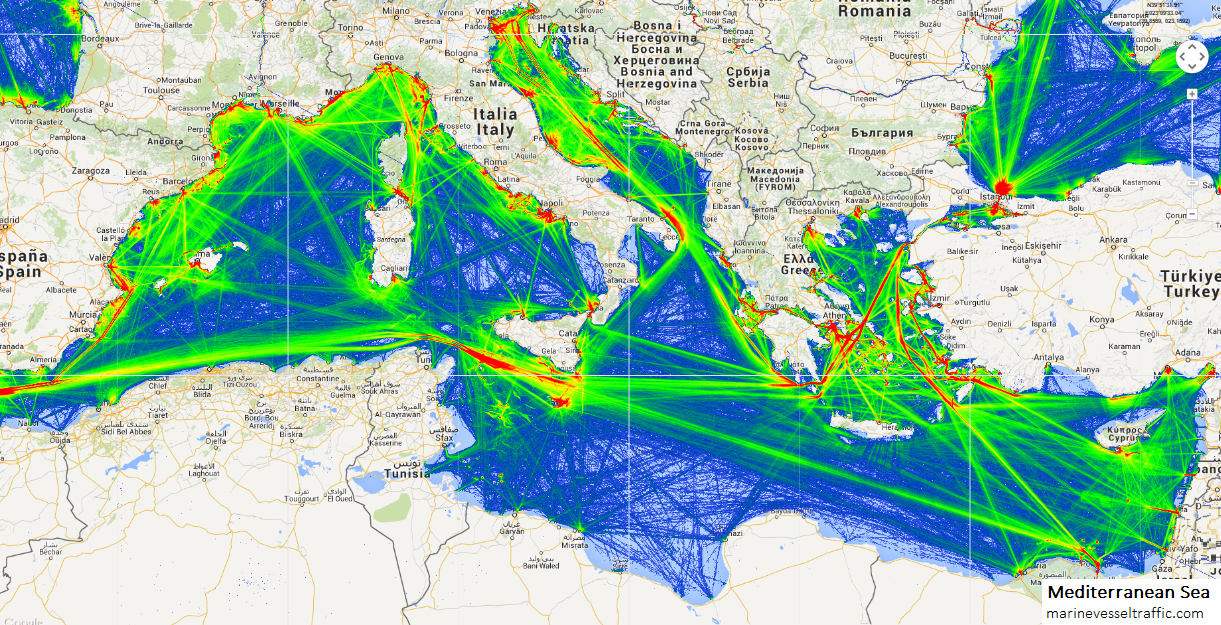 MEDITERRANEAN SEA SHIP TRAFFIC TRACKER | Marine Vessel Traffic
