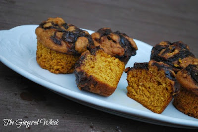 Nutella Swirled Pumpkin Muffins (The Gingered Whisk)