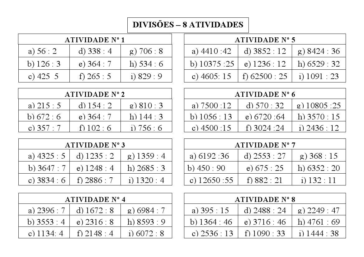 ATIVIDADES DIVIS  O 2   E 3   ANOS ENS FUNDAMENTAL