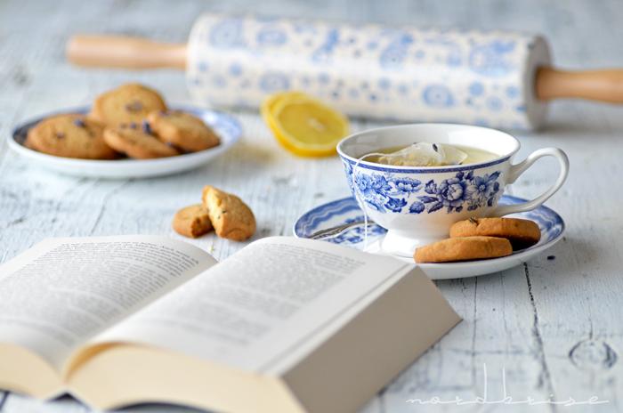 lavender lemon cookies tea cup book