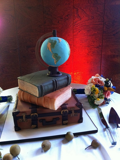Unique Wedding Cake Ideas - Books, Vintage Suitcase and Globe Wedding Cake