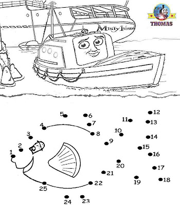 Kids games dot to dot numbers coloring pictures free online Thomas tank engine and friends sea fish