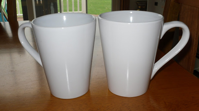 White mugs from Dollar Store