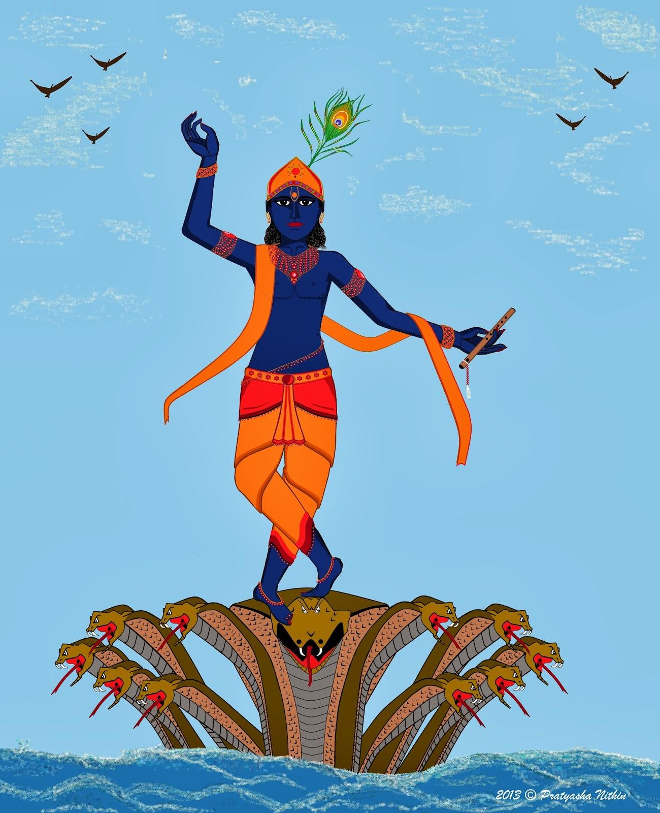 Best Krishna Dancing on Kaliya Naag HD wallpapers for free download