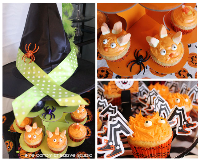 witches hat, monster cupcakes, spider cupcakes, dessert table