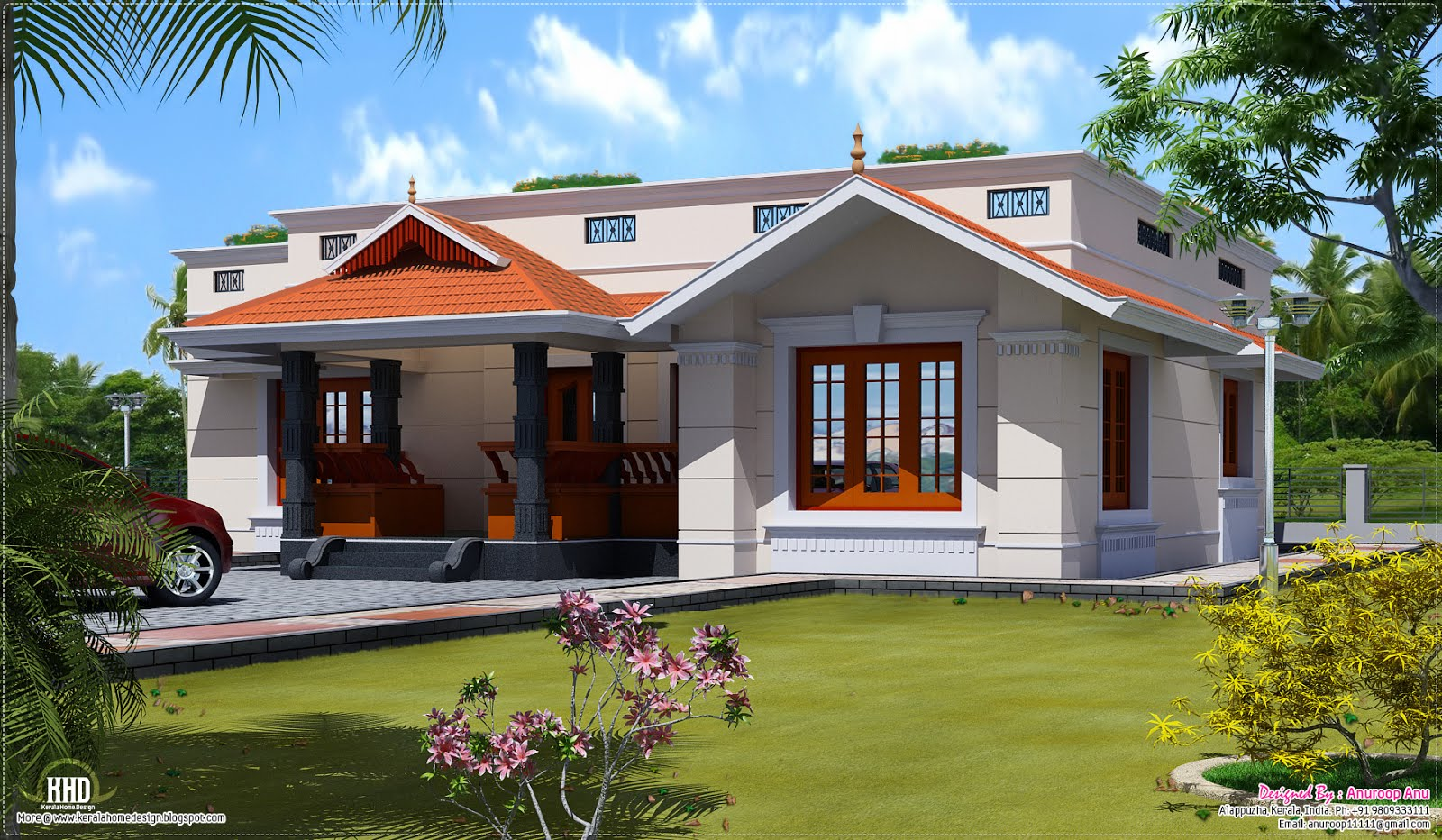 Single floor 1500 home design kerala home design for Single level home plans