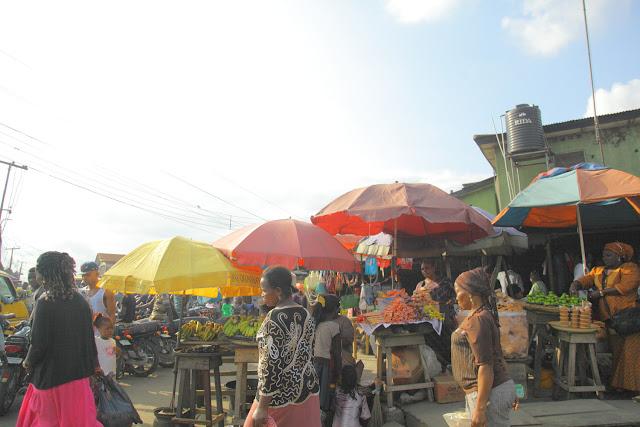food market in evening light