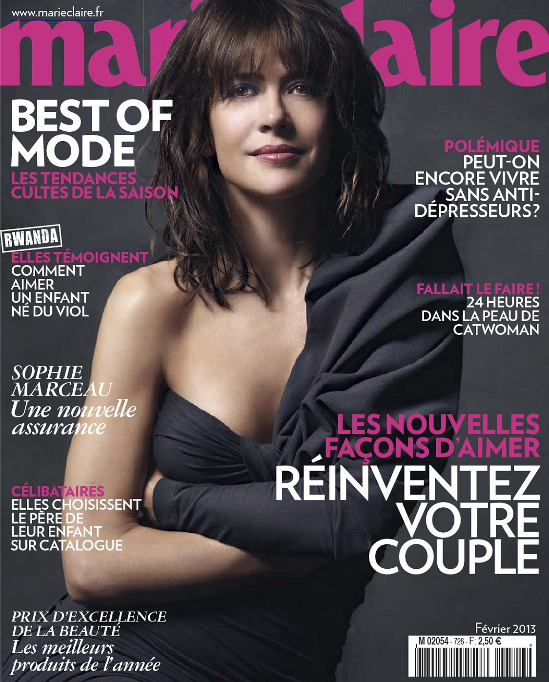 sophie marceau marie claire france february 2013 fashion mags fashion magazines from the. Black Bedroom Furniture Sets. Home Design Ideas
