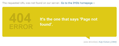 Error 404 en IMDb con Pulp Fiction