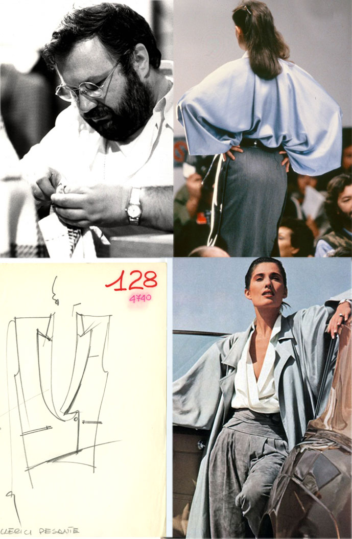 Gianfranco Ferre at work, one of the Fall/Winter 1983 designs, a sketch from the Spring/Summer 1983 collection & Ferre look in the March 1984 issue of American Vogue photographed by Herb Ritts